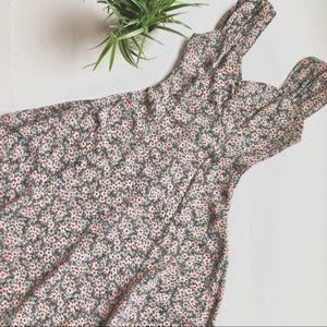 Vintage Floral Sweetheart Midi Dress